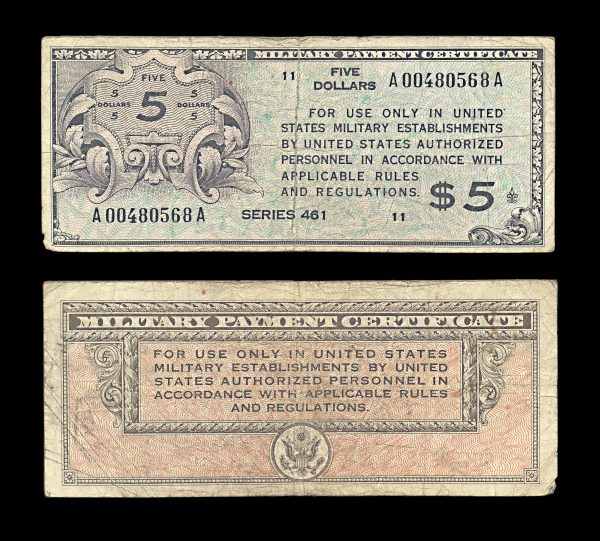 USA Military Payment Certificate 5 dollars series 461