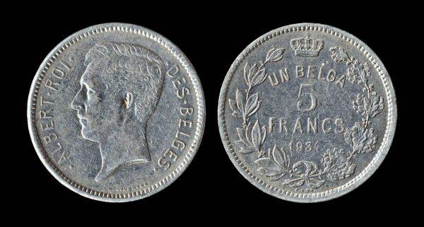 BELGIUM 5 francs 1934 French legends