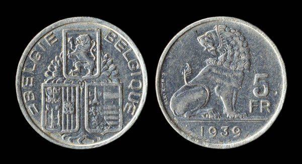 BELGIUM 5 francs 1939