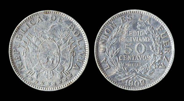 BOLIVIA 50 centavos 1909 H