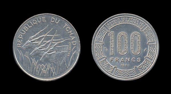 CHAD 100 francs 1980