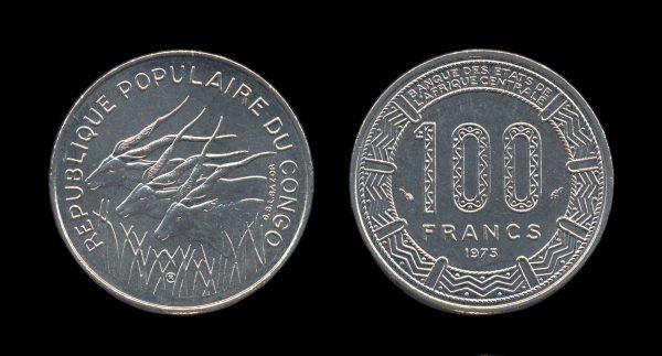 CONGO PEOPLES REPUBLIC 100 francs 1975