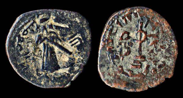 UMAYYAD standing caliph fals Halab mint circa 693-697 AD
