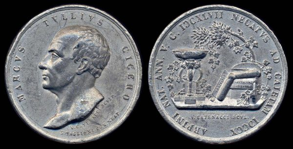 ITALY NAPLES & SICILY cast white metal medal 1830s-50s Cicero portrait