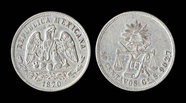 MEXICO 50 centavos 1870 GoS