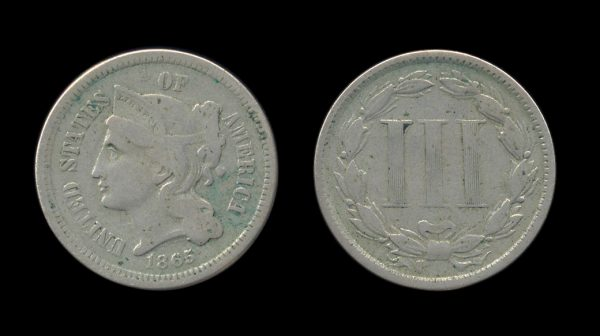 USA nickel 3 cents 1865