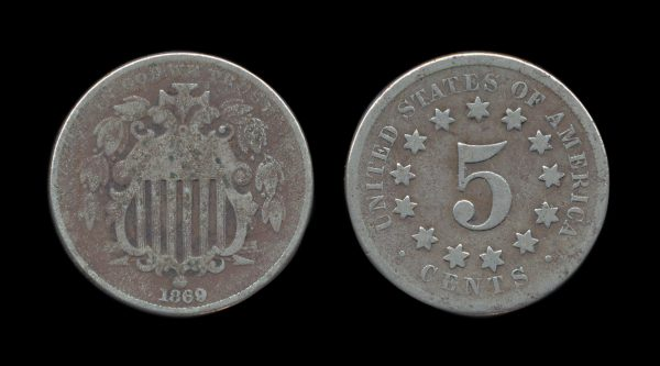 USA shield nickel 1869