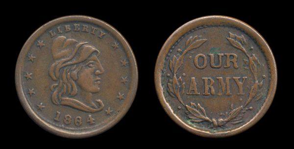 USA Civil War token 1864 patriotic