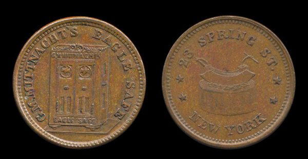 USA NEW YORK Civil War token MITTNACHT'S EAGLE SAFE