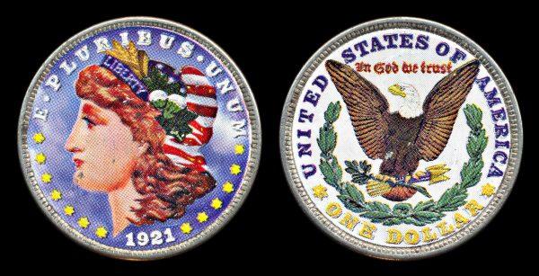 USA colorized Morgan dollar 1921