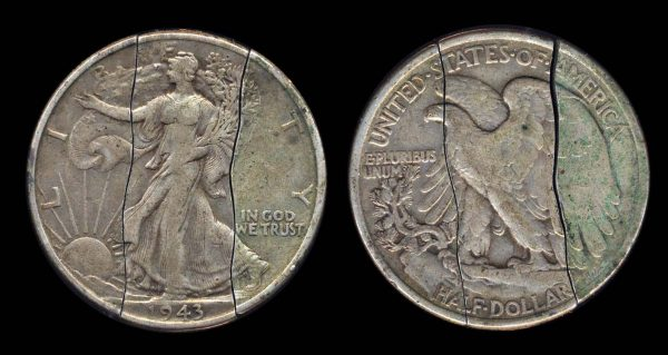 USA cut 1943 half dollar