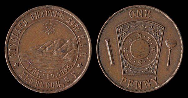 USA NEW YORK Newburgh large Masonic penny