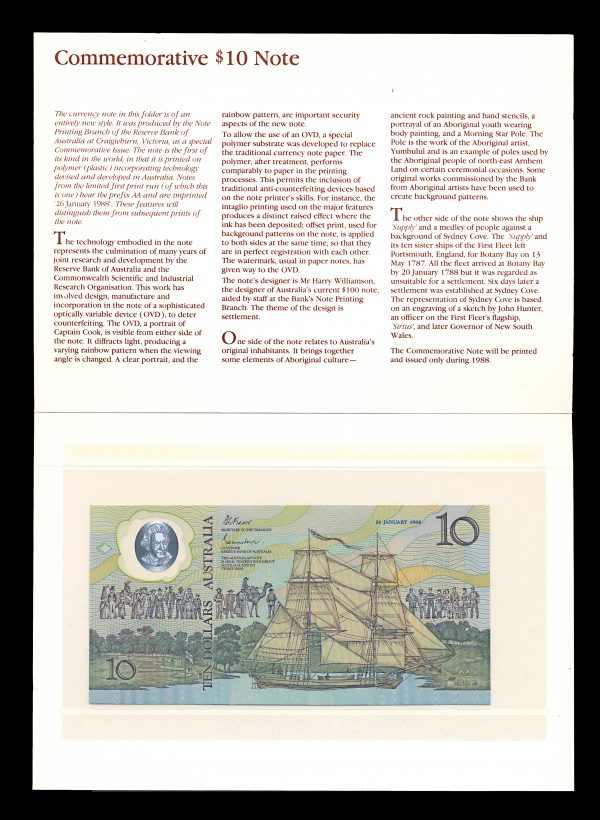 Australia 10 dollars 1988 folder