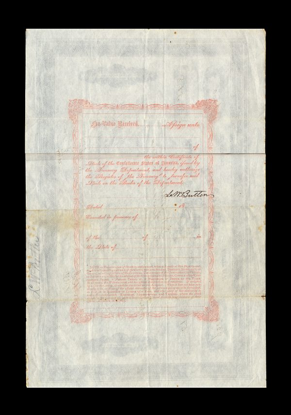 CONFEDERATE STATES OF AMERICA bond certificate 3.4.1863
