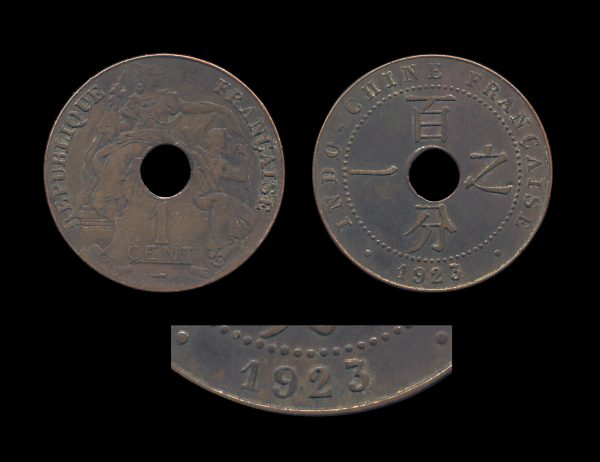 FRENCH INDOCHINA 1 cent 1923 Poissy mint date variety