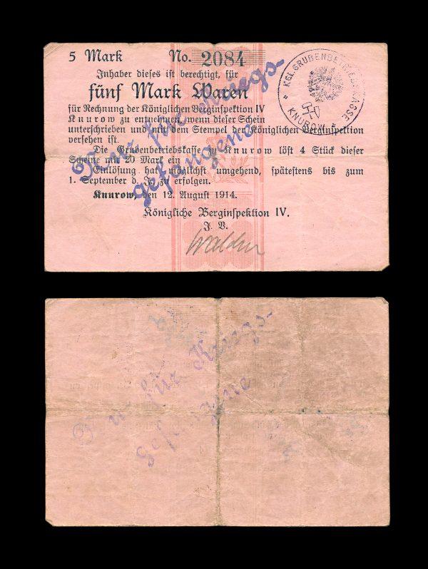 GERMANY KNUROW Prisoner of War camp 5 mark 1914
