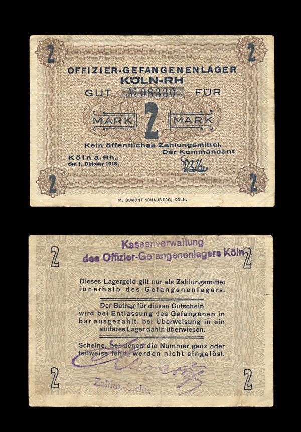 GERMANY KÖLN Prisoner of War camp 2 mark 1918