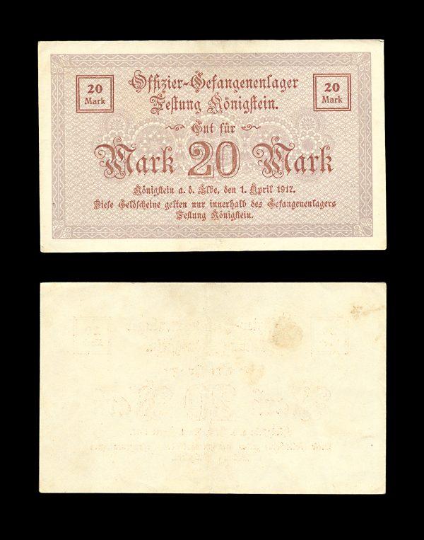 GERMANY KÖNIGSSTEIN Prisoner of War camp 20 mark 1917