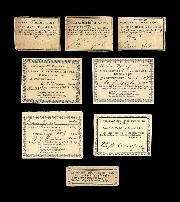 CANADA and USA Methodist Church quarterly subscription tickets 1846 to 1862