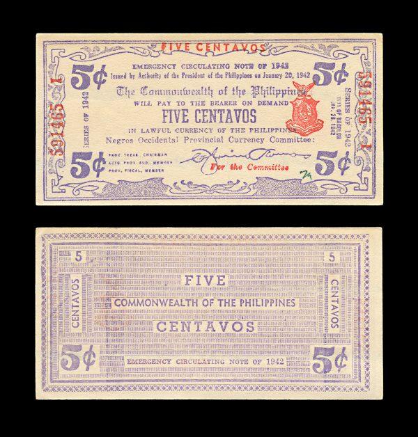 PHILIPPINES NEGROS OCCIDENTAL 5 centavos 1942 Guerilla currency