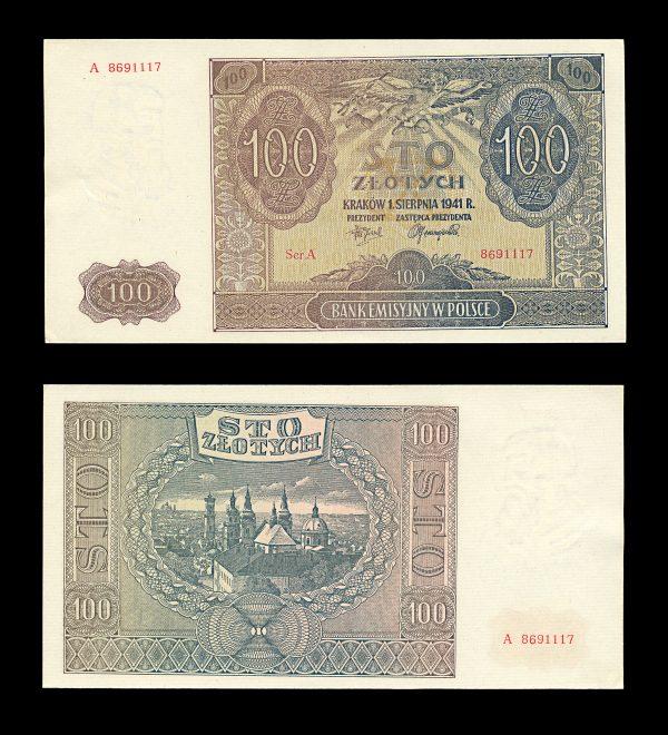 POLAND GERMAN OCCUPATION 100 zlotych 1.8.1941