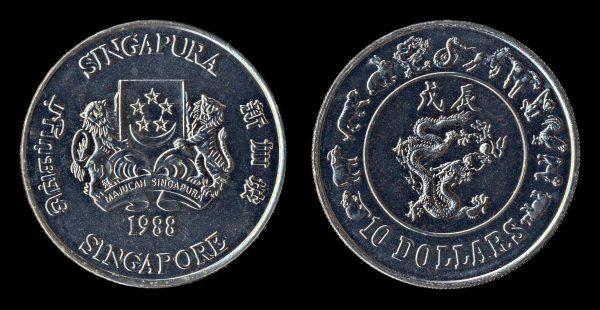 SINGAPORE 10 dollars year of dragon 1988