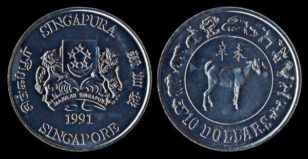 SINGAPORE 10 dollars year of goat 1991