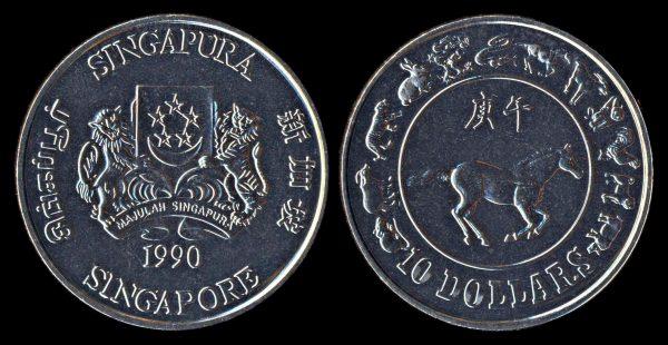 SINGAPORE 10 dollars year of horse 1990