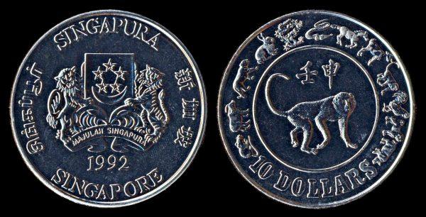 SINGAPORE 10 dollars year of monkey 1992