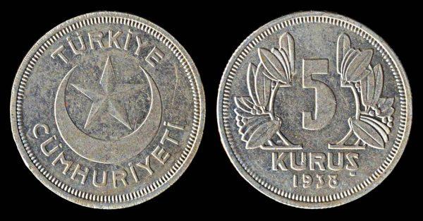 TURKEY 5 kurus 1938