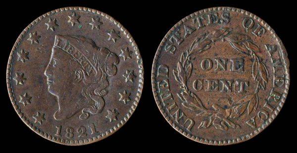 USA large cent 1821