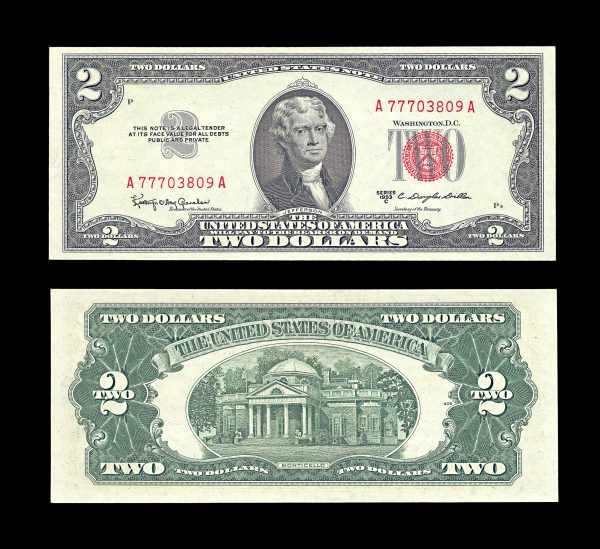 USA United States Note 2 dollars 1953-C  red seal