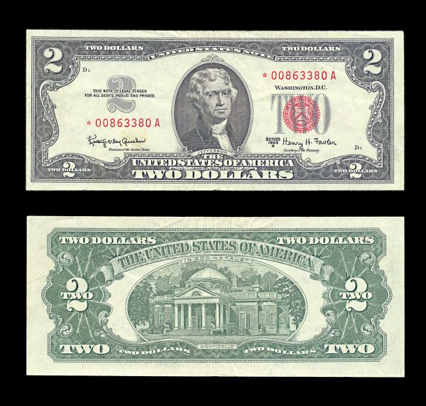 USA United States Note 2 dollars 1963-A star replacement note