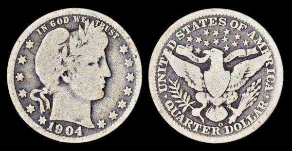USA Barber 25 cents 1904 O