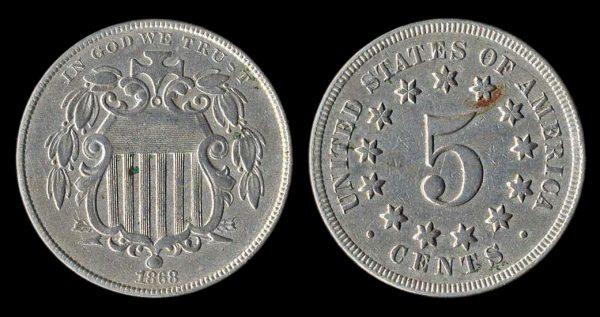 USA shield 5 cents 1868