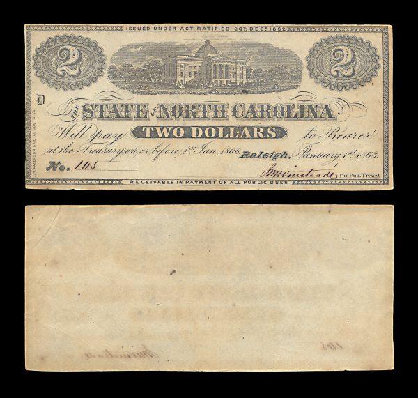 USA NORTH CAROLINA 2 dollars 1.1.1863